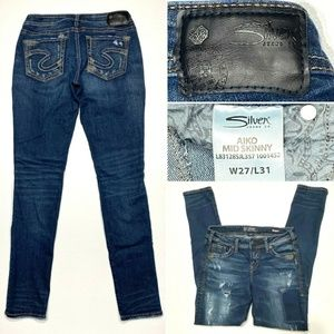 Silver AIKO Mid Skinny W27 L31 Destroyed Jeans